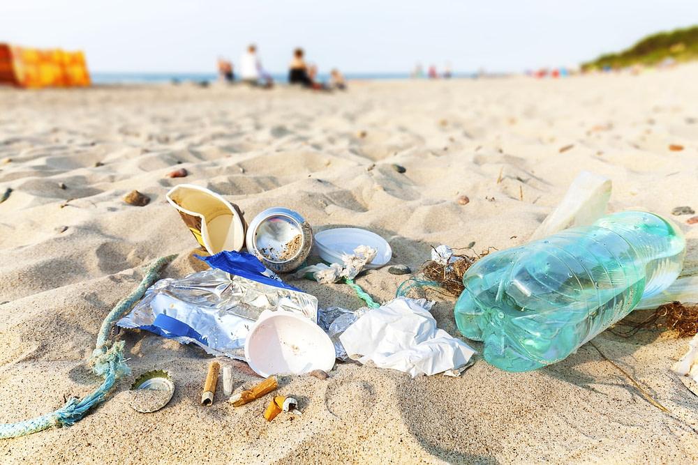 Ocean pollution rubbish on the beach