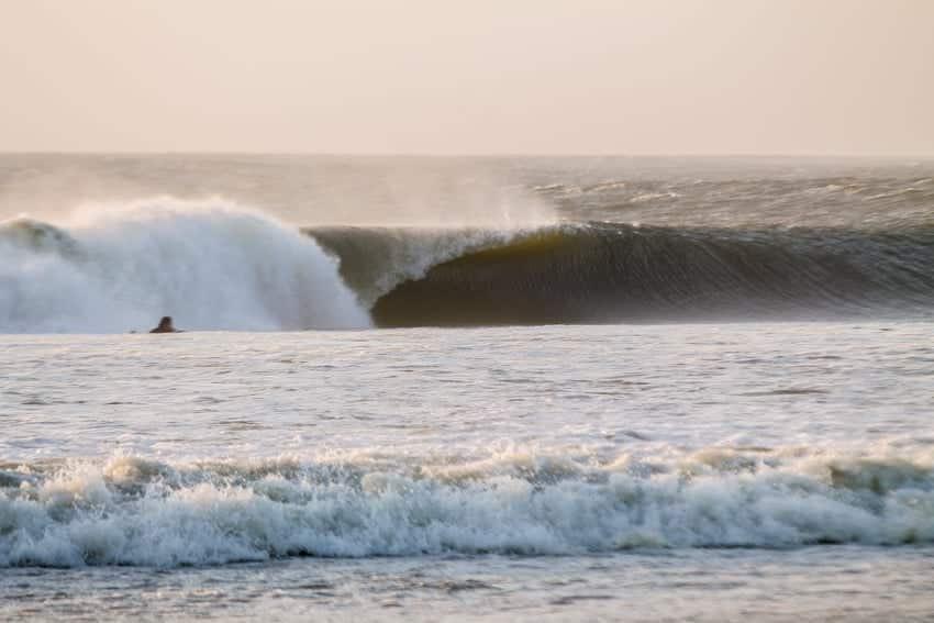 Namibia Surf Trip. Large wave barreling in Skeleton Bay Namibia.